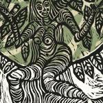 "Tree Goddess-5"" x 7""- linoleum block print, chine colle'"