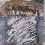 "Marfa Lights #1 2014 monotype 10"" x 10"""